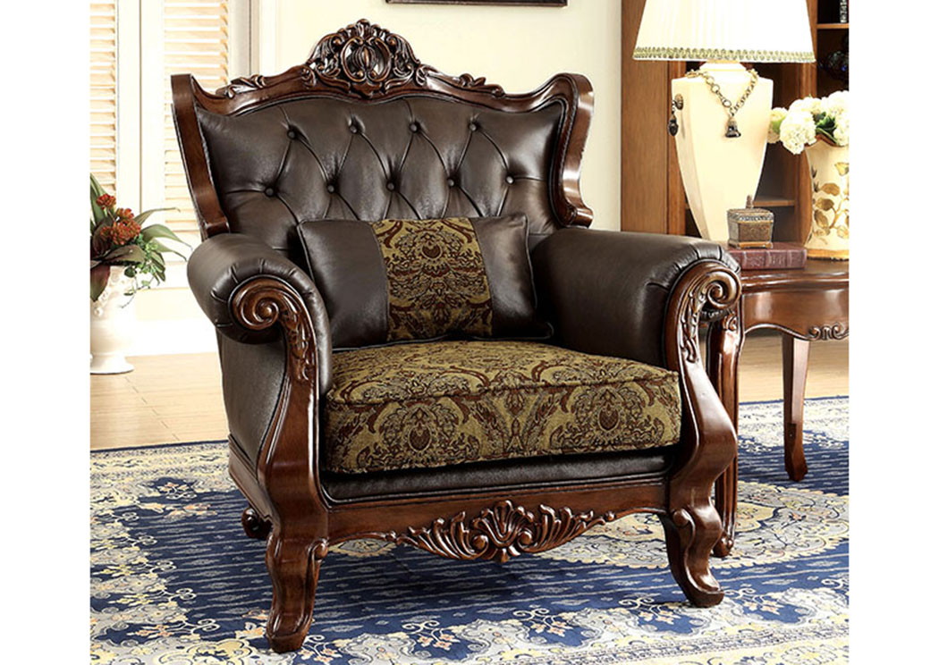 Kamilah Brown Top Grain Leather Chair w/PillowFurniture of America  sc 1 st  iDeal Furniture Austell & iDeal Furniture Austell Kamilah Brown Top Grain Leather Chair w/Pillow
