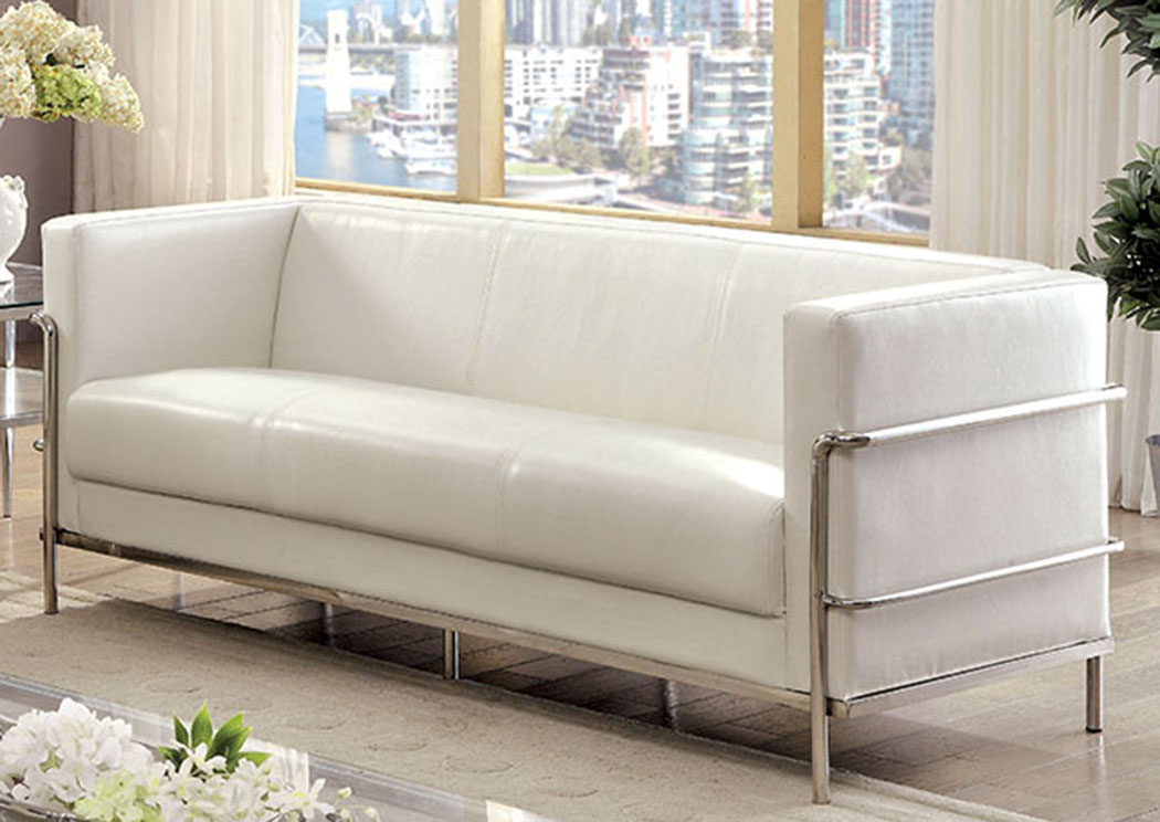 Cool Furniture Moc Leifur White Leatherette Sofa Caraccident5 Cool Chair Designs And Ideas Caraccident5Info