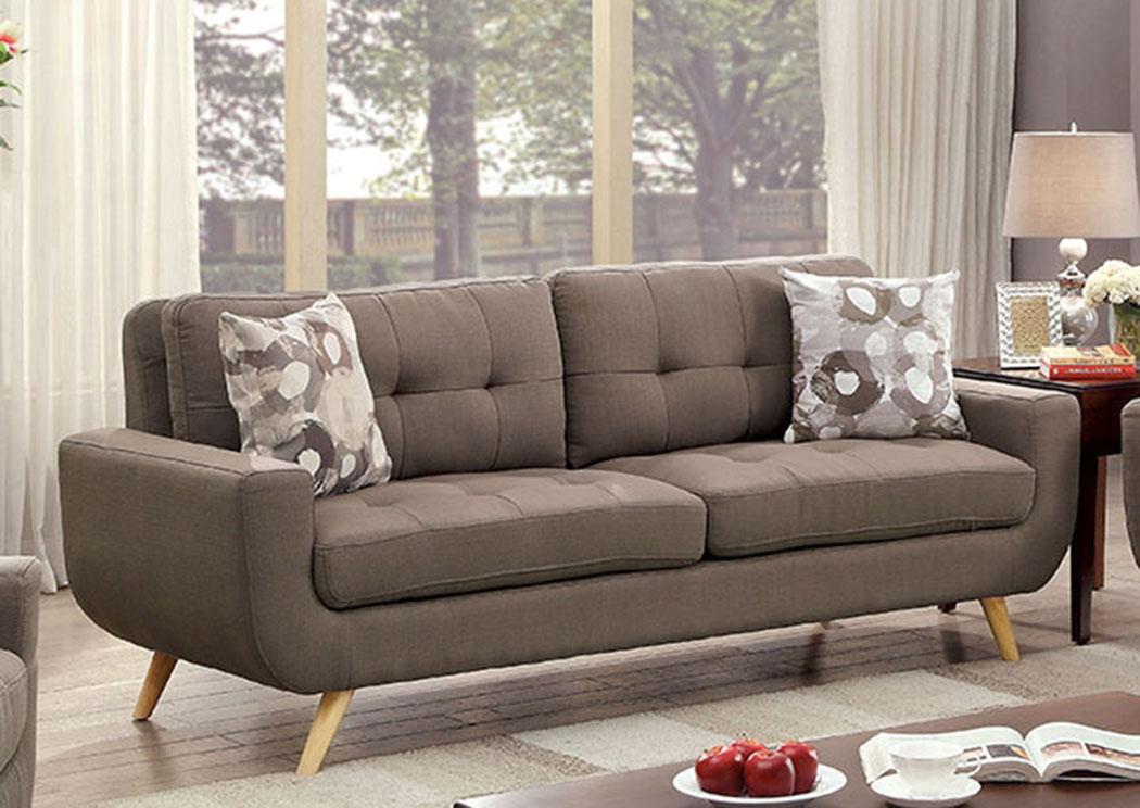 Livvy Mocha Sofa W/Pillows,Furniture Of America