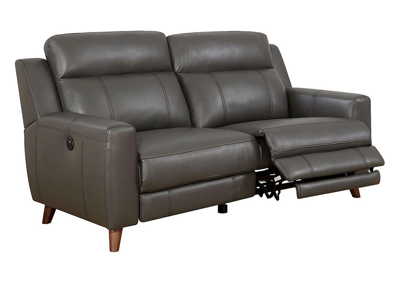 Squan Furniture Rosalyn Gray Leather Gel Power Reclining Sofa