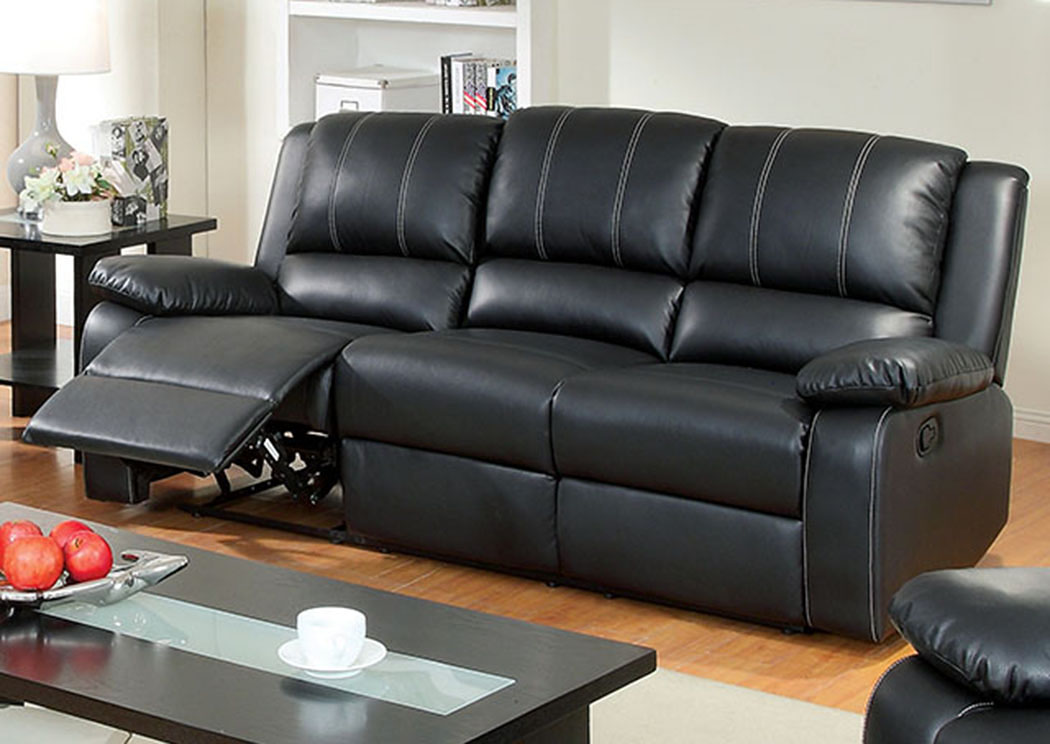 Exceptionnel Gaffey Black Leather Sofa W/2 Recliners,Furniture Of America