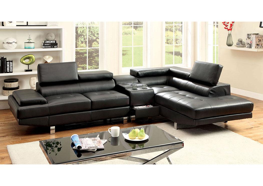 Awe Inspiring Furniture Outlet Depot Kemina Black Bonded Leather Sectional Customarchery Wood Chair Design Ideas Customarcherynet