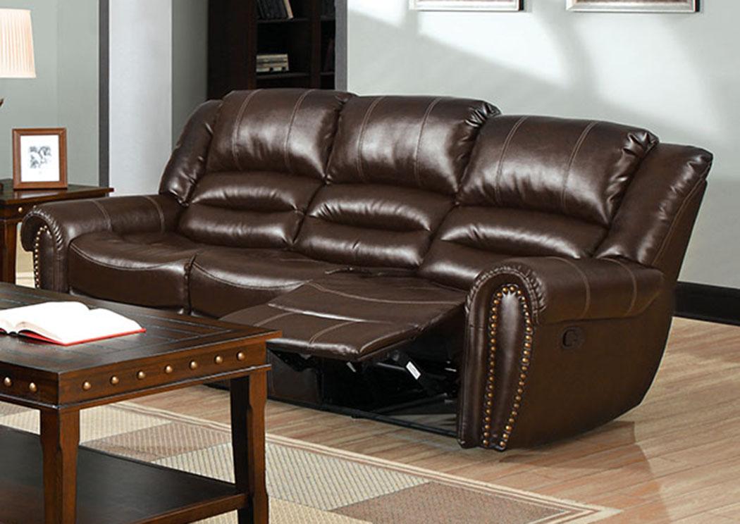 Astonishing 252948 Dundee Dark Brown Sofa W 2 Recliners Inzonedesignstudio Interior Chair Design Inzonedesignstudiocom