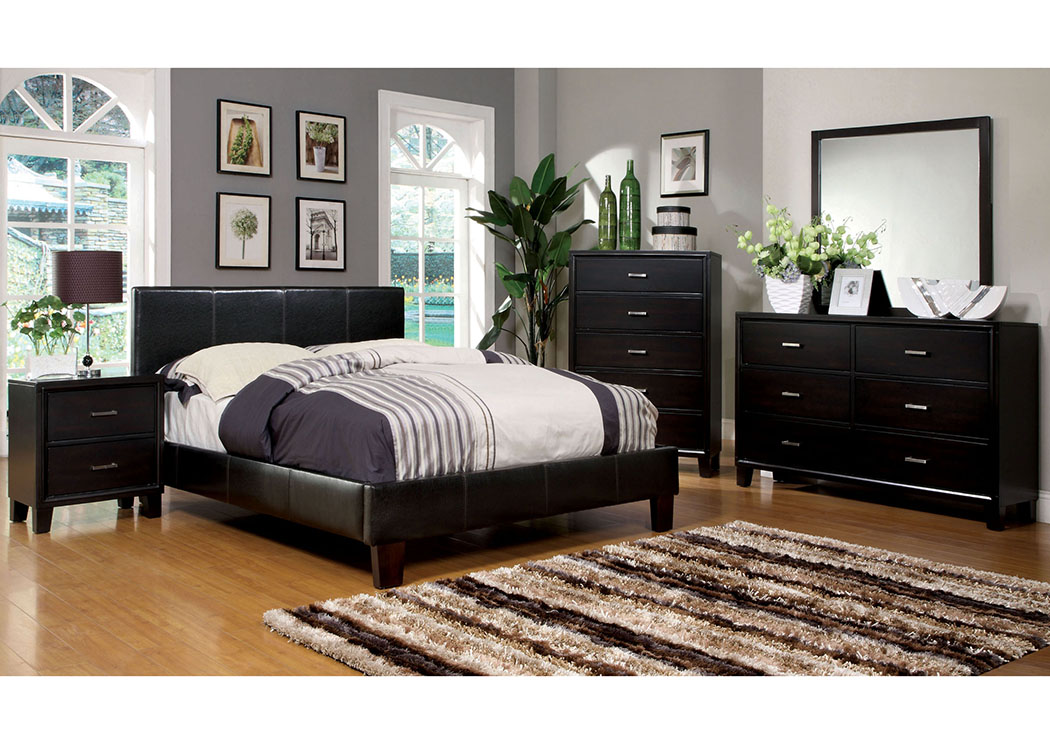 Winn Park Espresso Upholstered Eastern King Platform Bed,Furniture of America TX