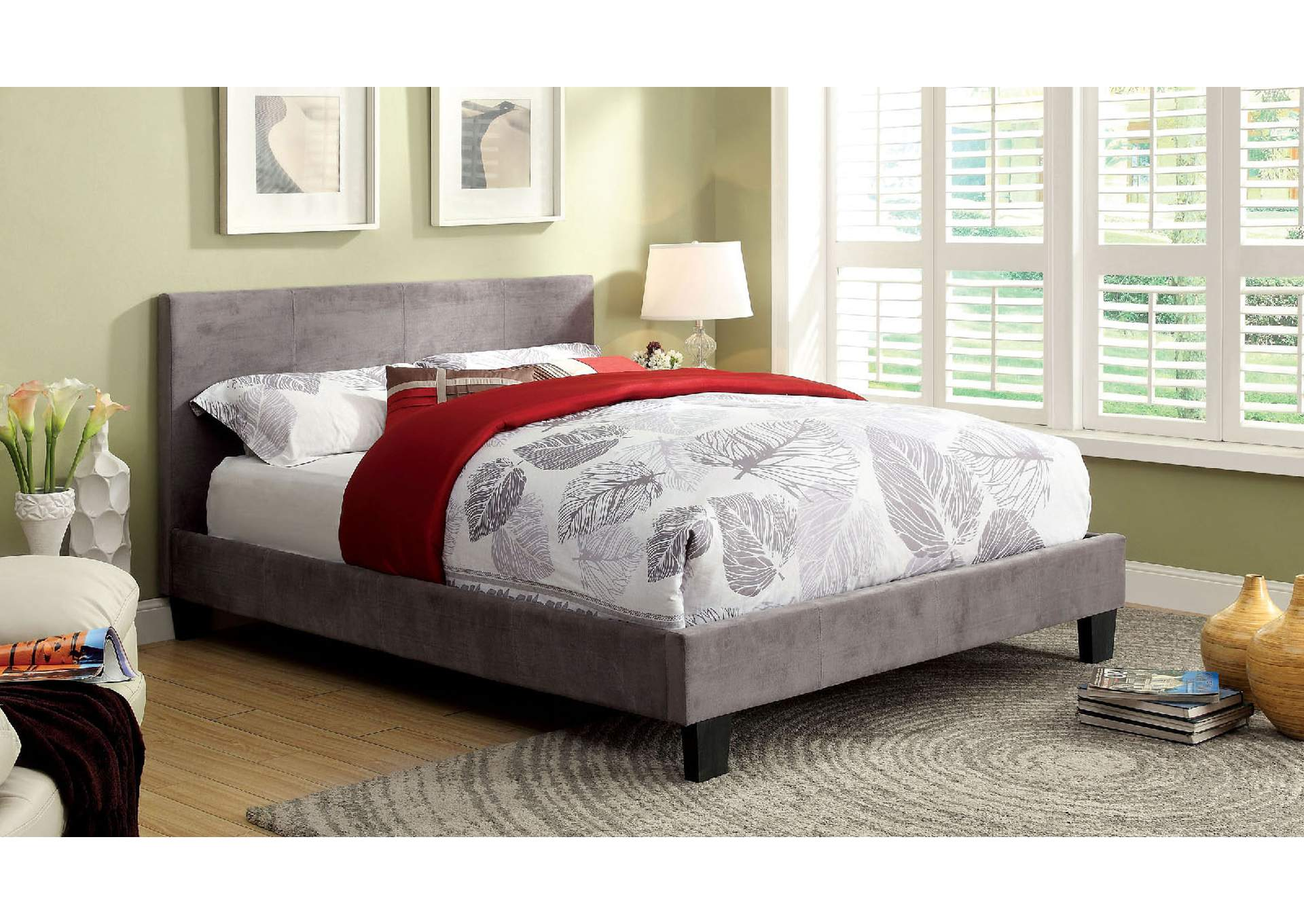 Winn Park Gray Upholstered Twin Platform Bed,Furniture of America