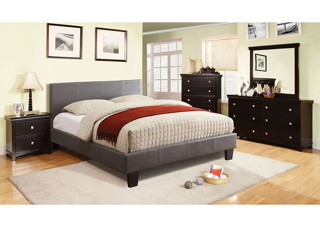 Winn Park Gray Leatherette Upholstered Queen Platform Bed,Furniture of America
