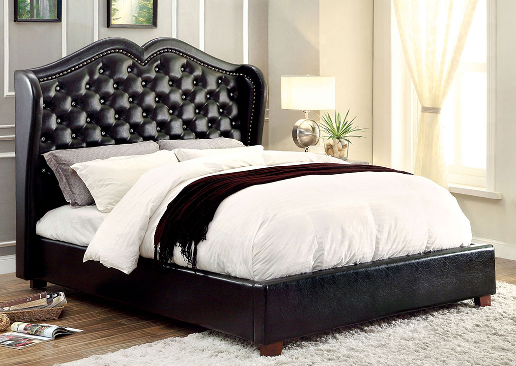 Monroe Black Queen Platform Bed,Furniture of America