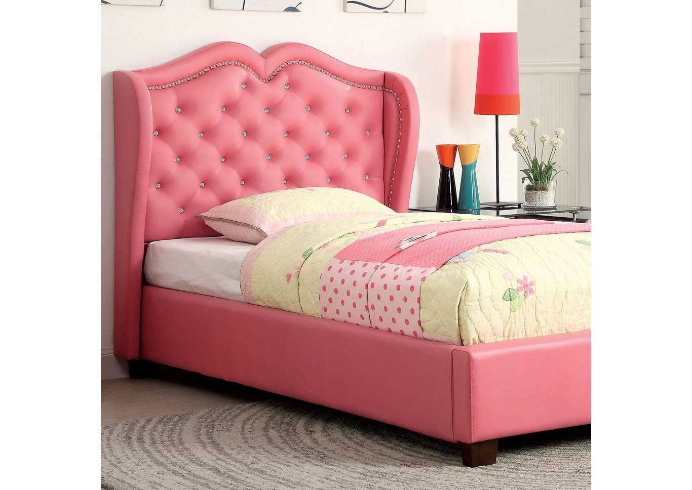 Monroe Pink Leatherette Twin Platform Bed,Furniture Of America