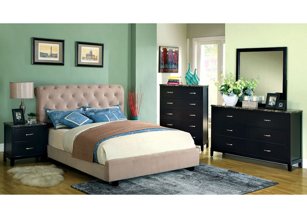 Lemoore Beige California King Platform Bed,Furniture of America