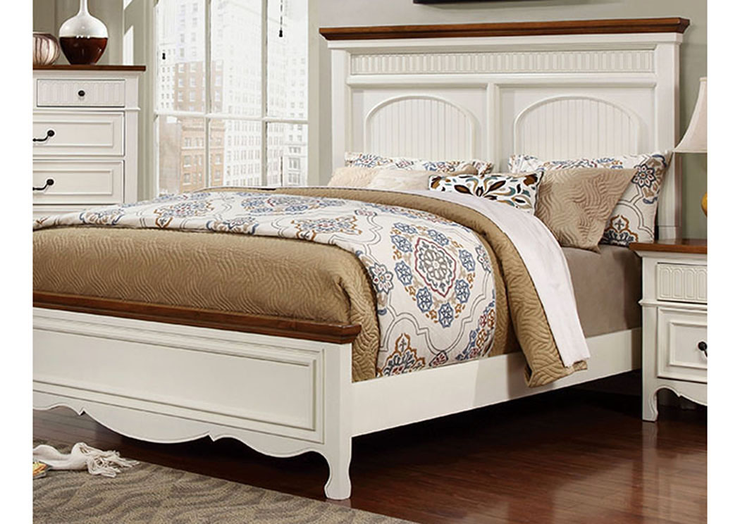 Galesburg White & Oak Queen Platform Bed,Furniture of America