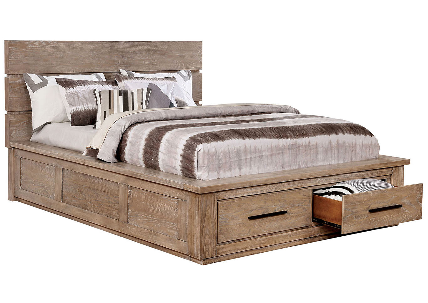 Oakes Tan Platform Storage California King Bed,Furniture of America