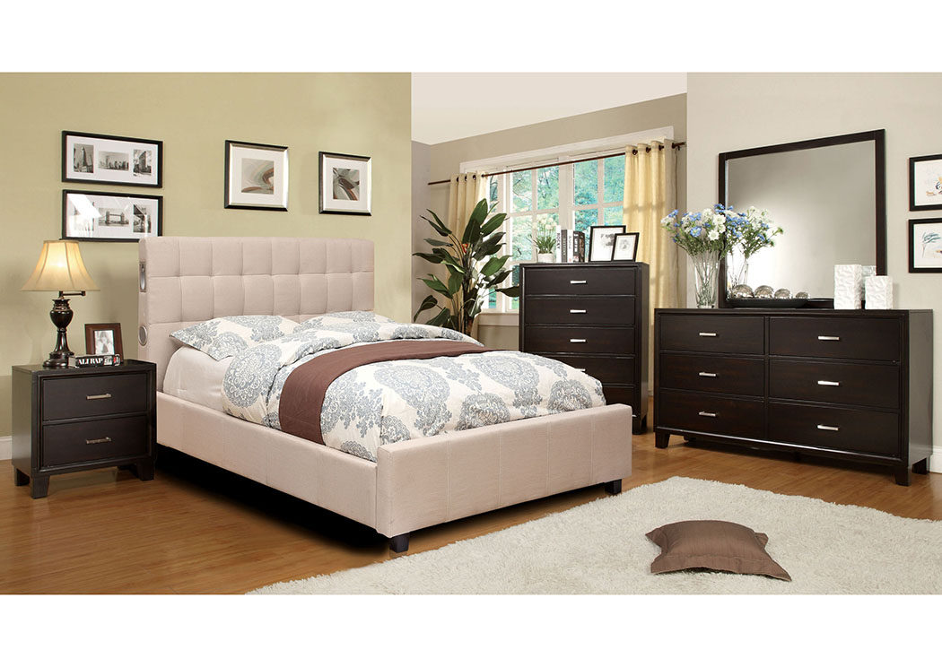 Dillan Ivory California King Platform Bed W/Espresso Dresser, Mirror And Drawer  Chest,