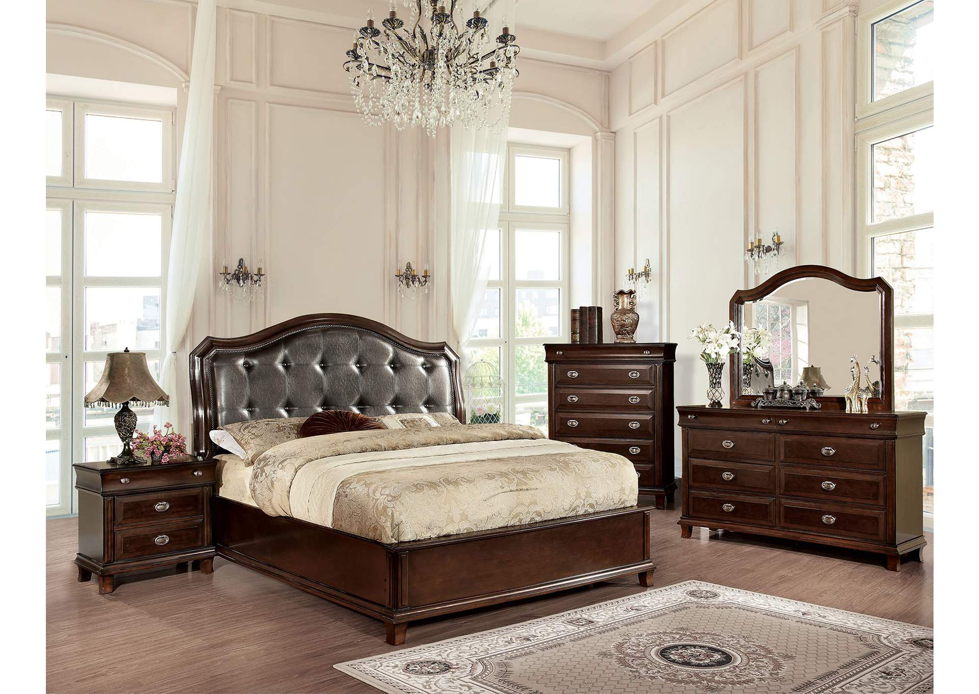Arden Brown Cherry Upholstered Platform Queen Bed w/Dresser and Mirror,Furniture of America