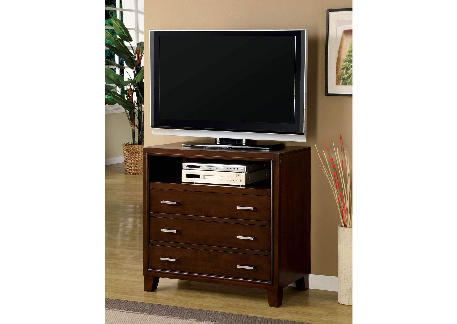 Gerico II Brown Cherry Media Chest,Furniture of America