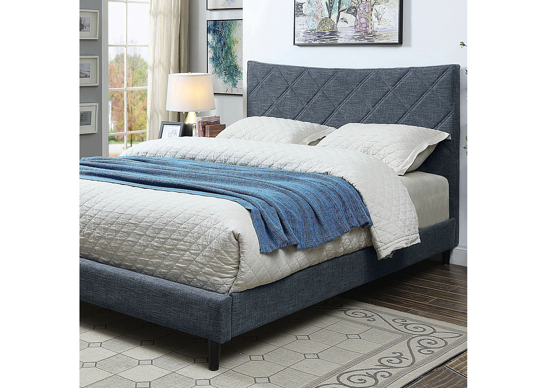 Estarra Blue Eastern King Platform Bed,Furniture of America