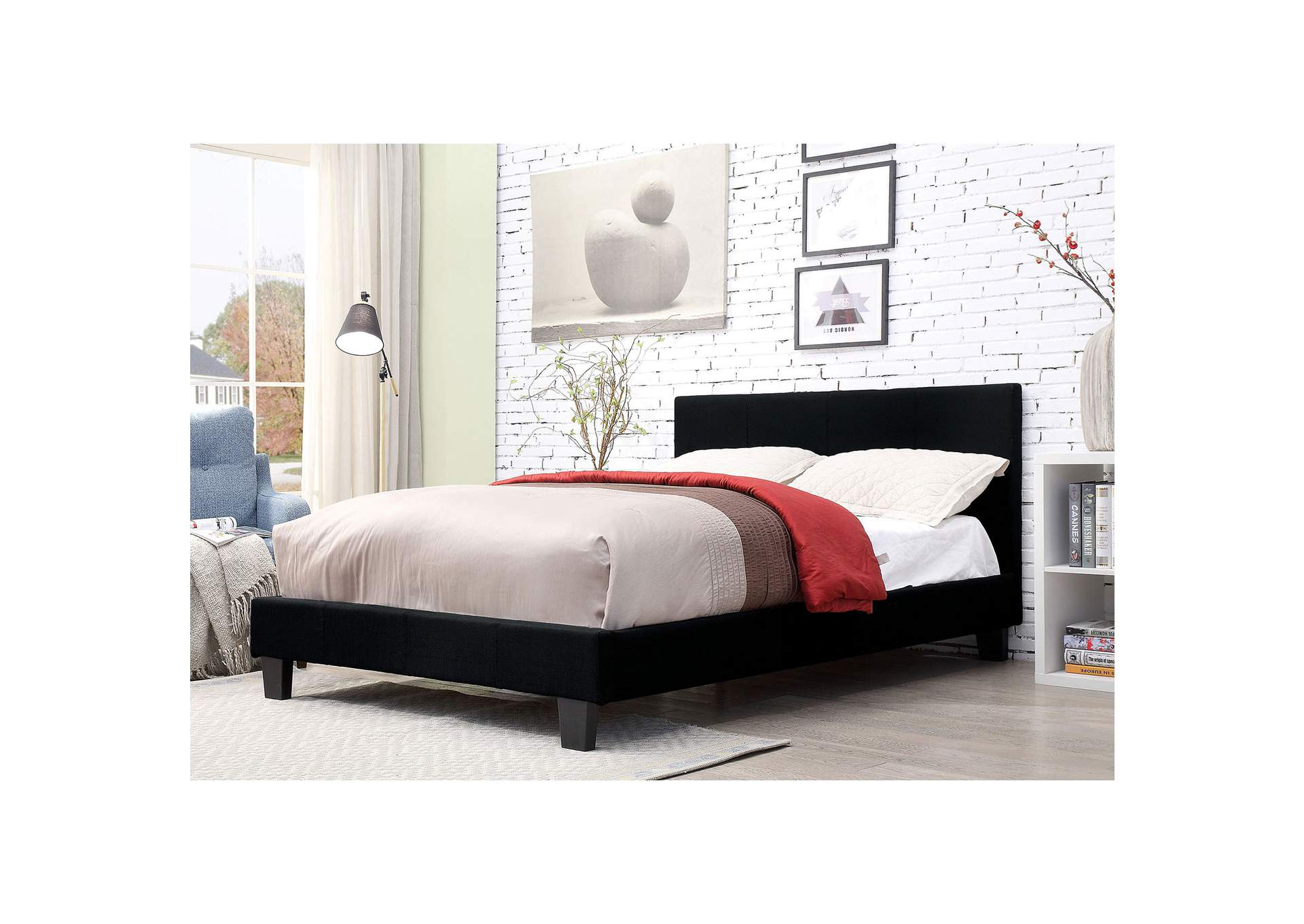 Sims Black Twin Platform Bed,Furniture of America