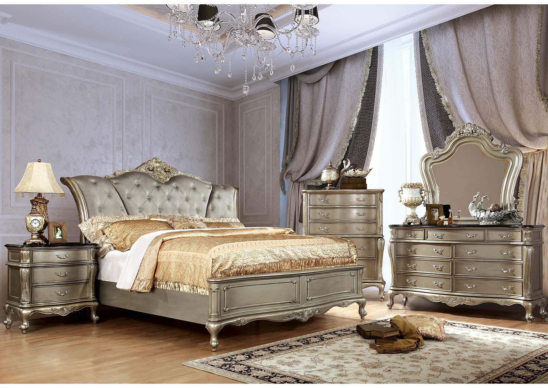 Humble furniture decor johara gold upholstered platform for California king bed
