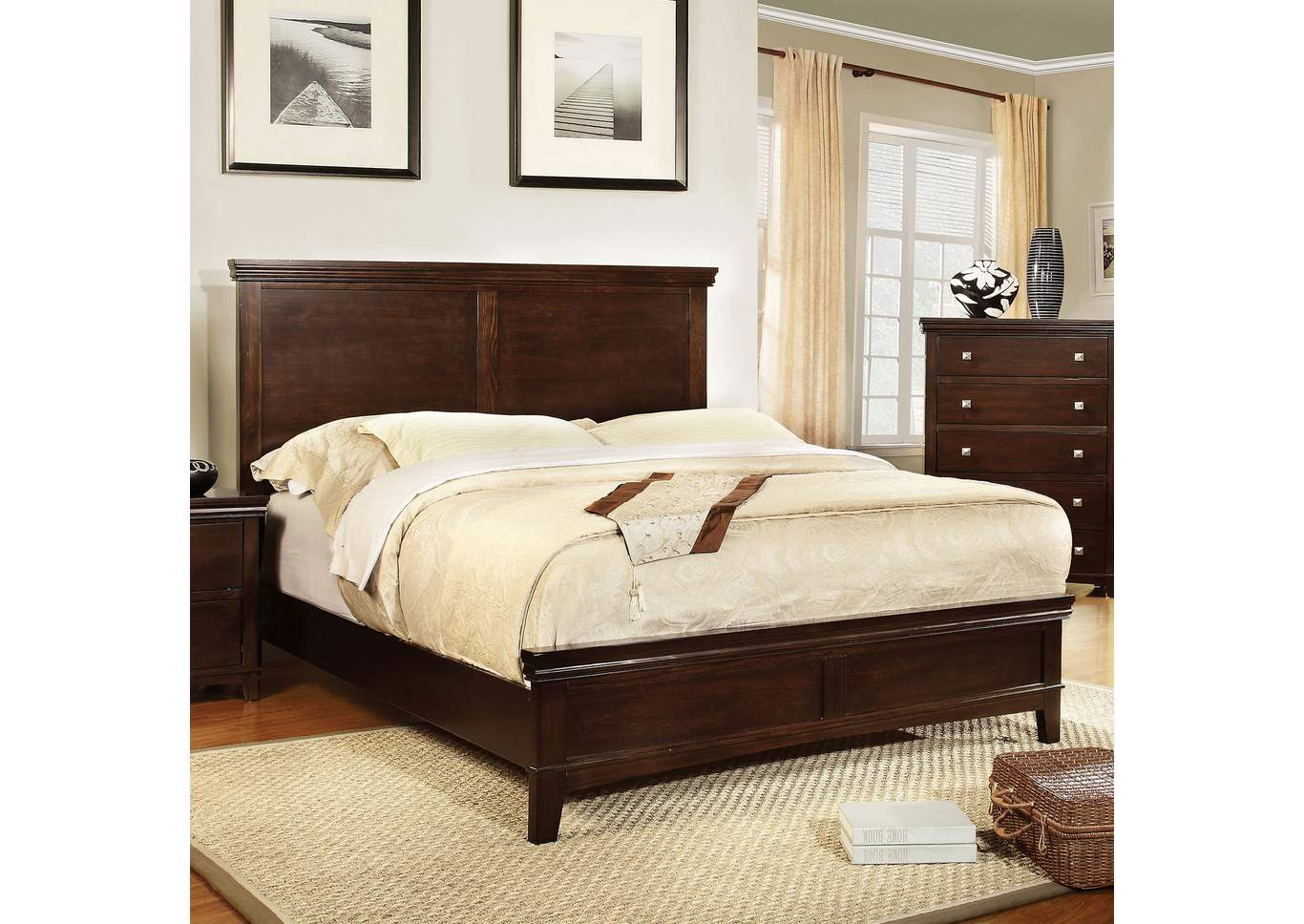 Spruce Brown Cherry Eastern King Platform Bed w/Dresser, Mirror and Nightstand,Furniture of America
