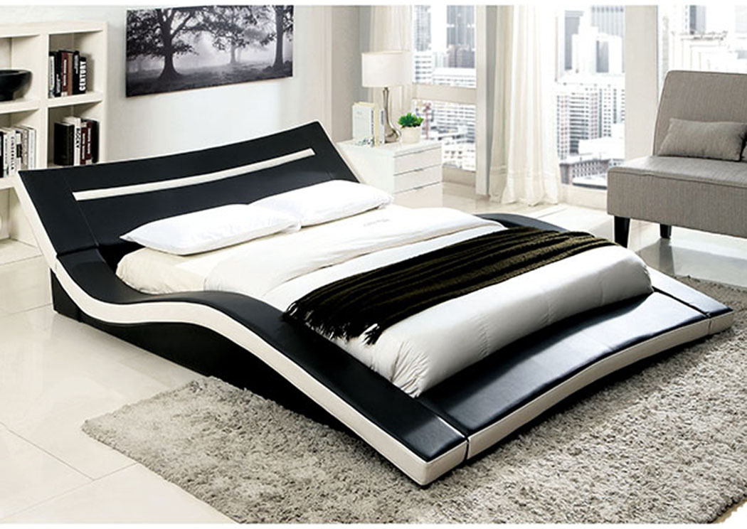 Zelina Black and White Queen Platform Bed,Furniture of America