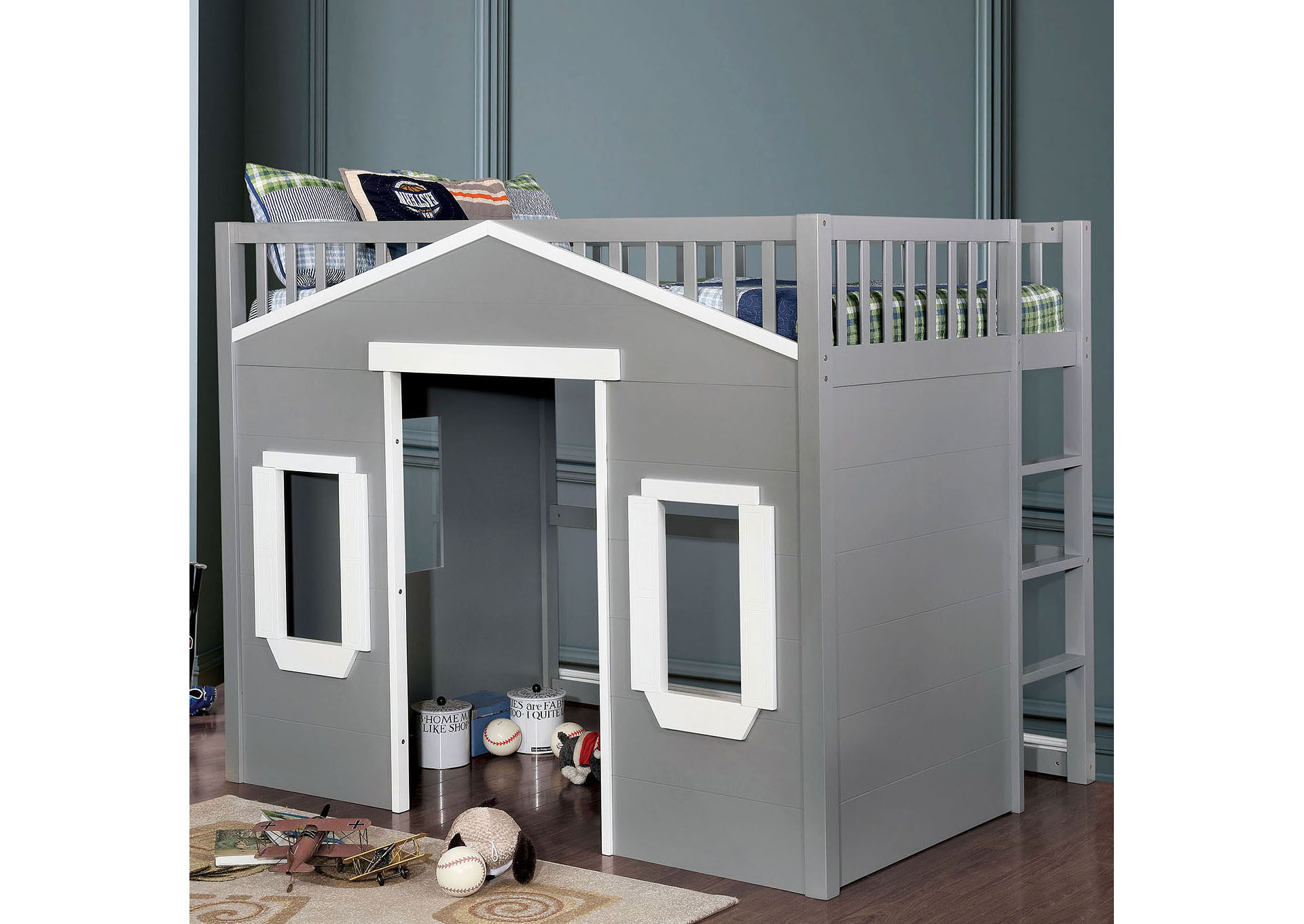 Grey Full Loft Bed,Furniture of America