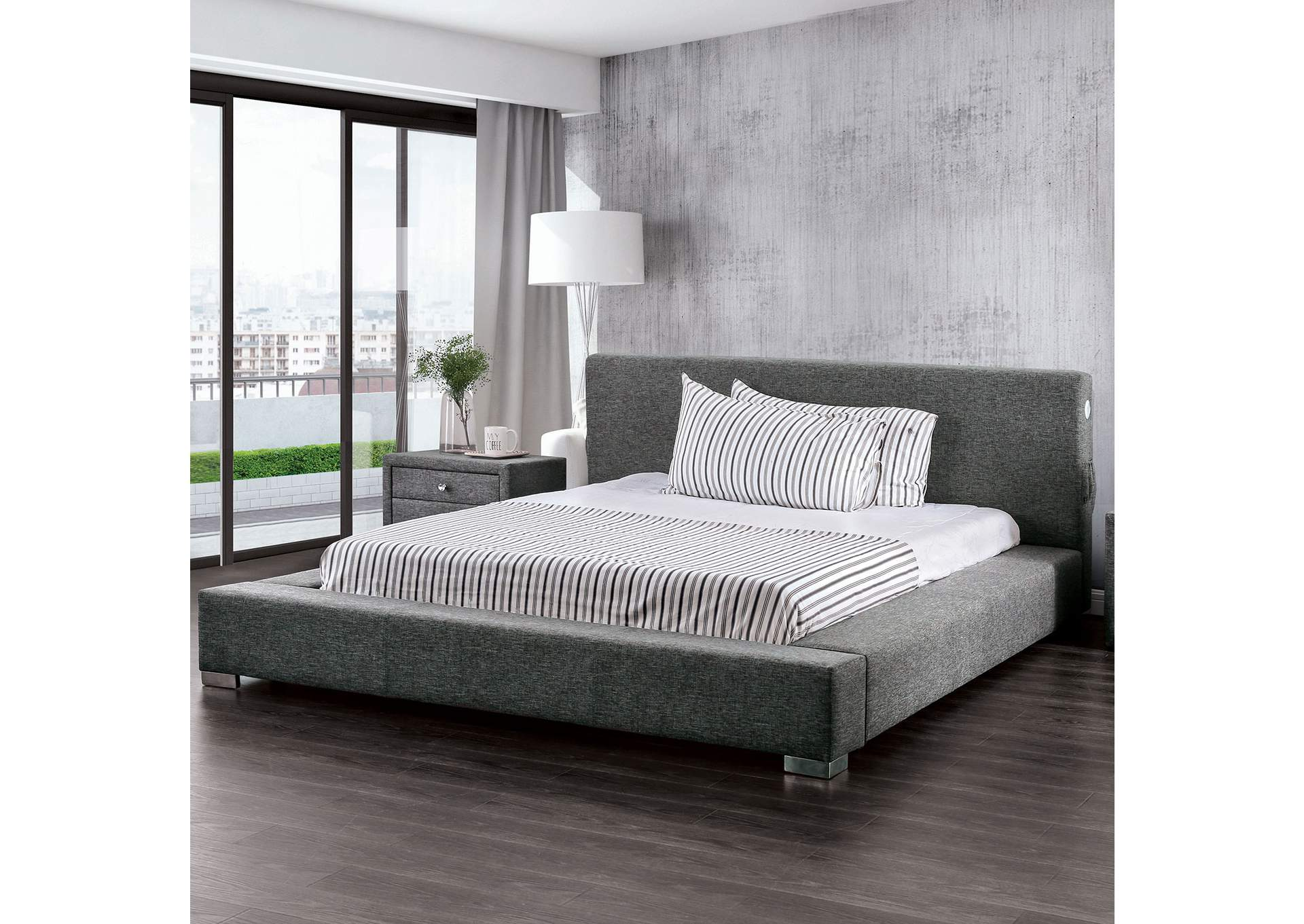 Canaves Dark Gray Eastern King Bed,Furniture of America