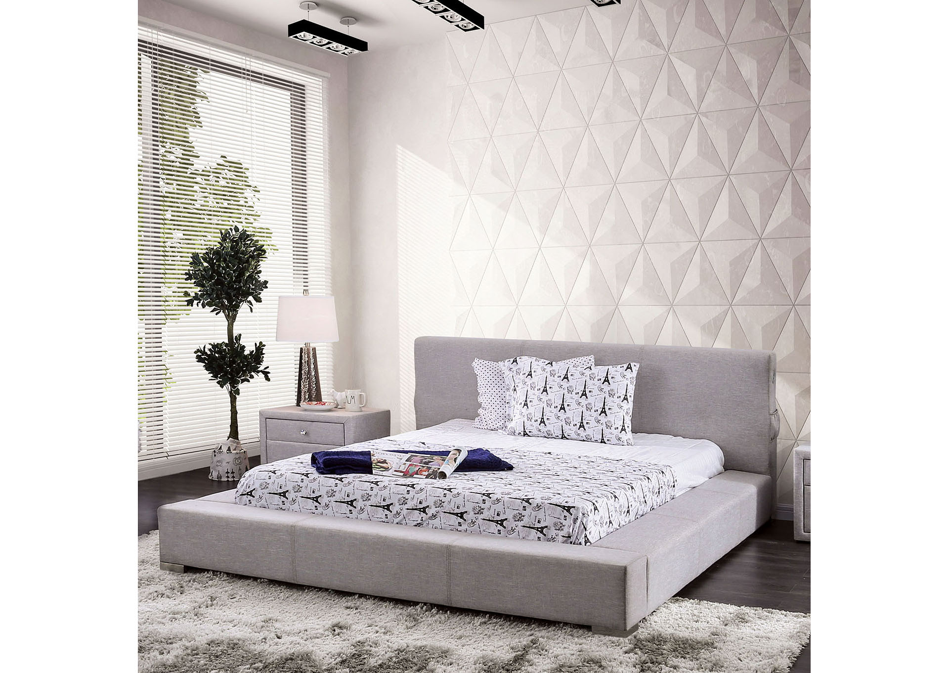 Canaves Gray California King Platform Bed,Furniture of America