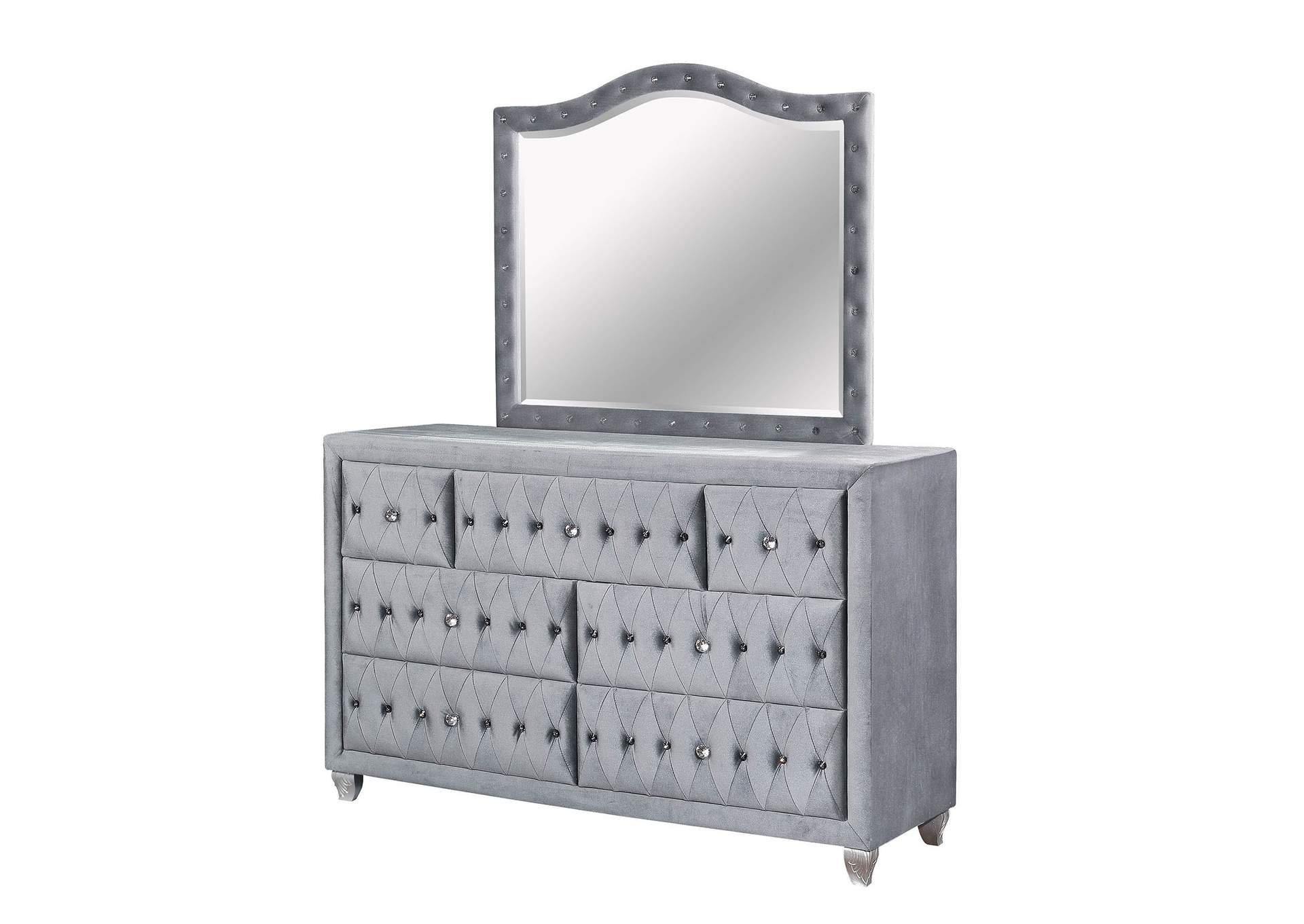 Alzir Gray Upholstered Dresser w/Mirror,Furniture of America