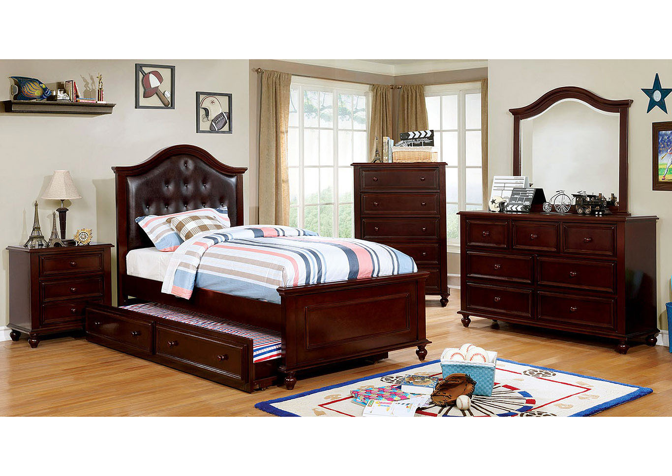 Olivia Dark Walnut Full Bed,Furniture of America
