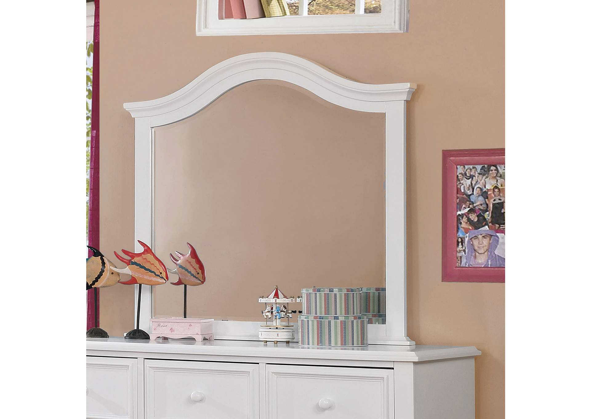 Olivia White Mirror,Furniture of America