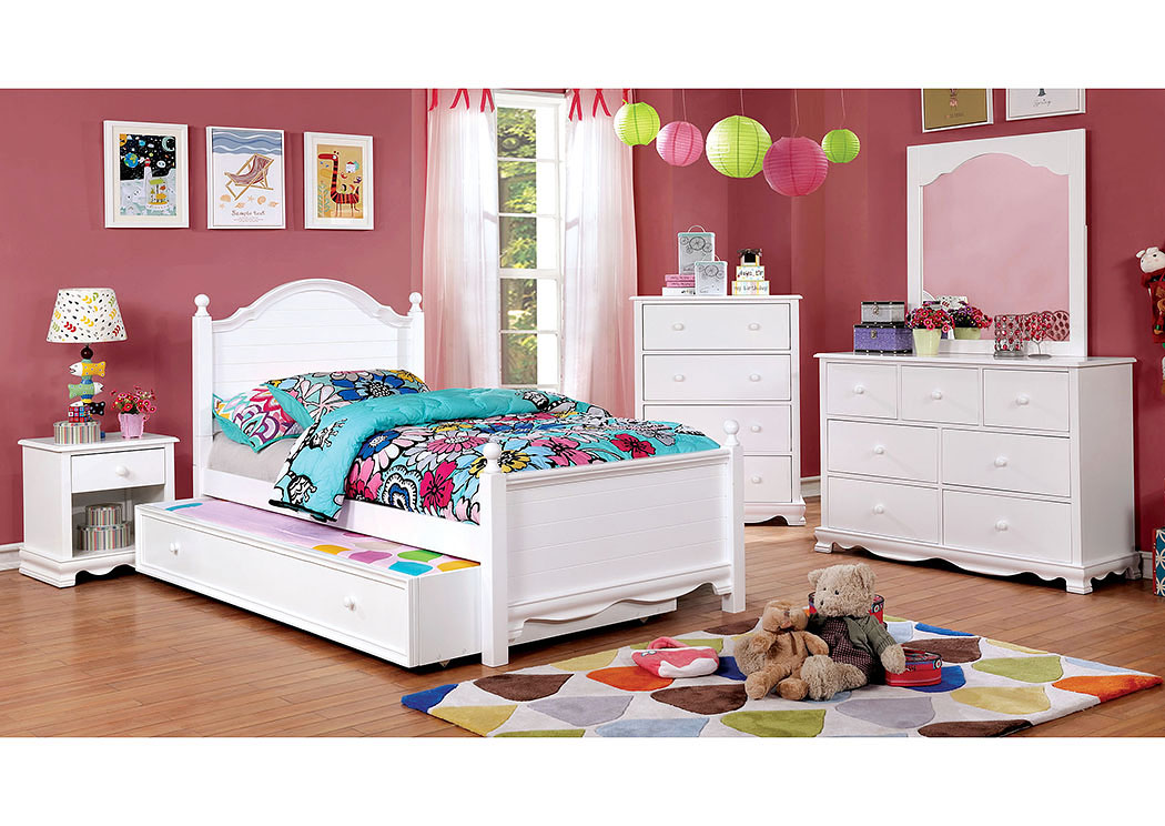 Dani White Twin Platform Bed (Trundle Not Included),Furniture of America TX