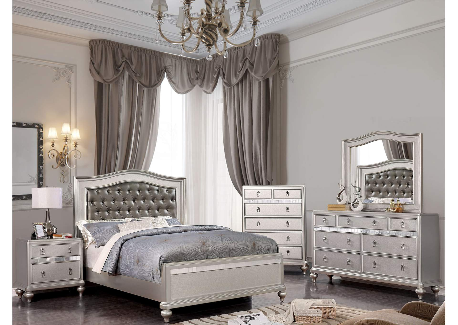 Ariston Silver Queen Bed,Furniture of America
