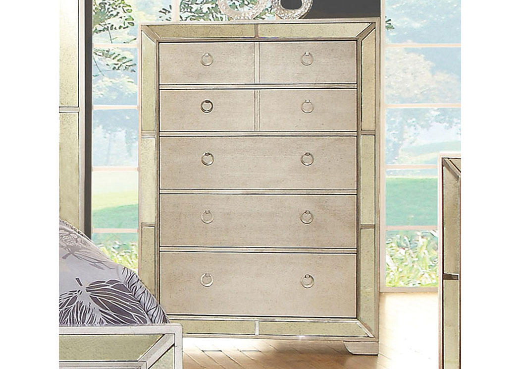 Loraine Silver Chest W/Antique Mirror Panels,Furniture Of America
