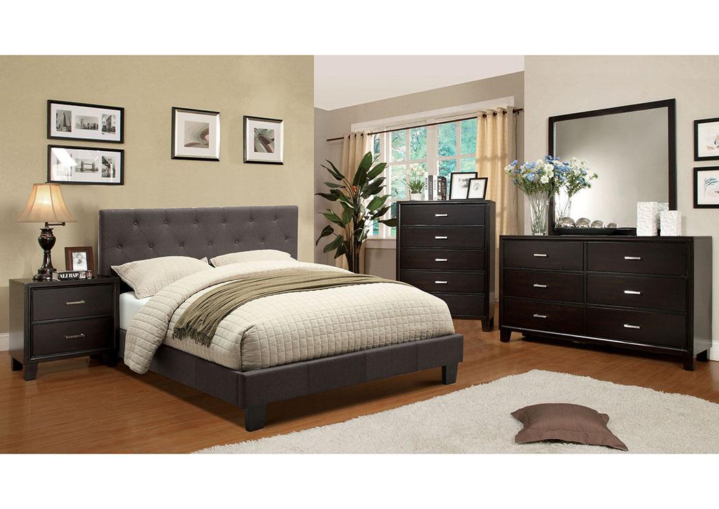 Paula S Wholesale Furniture Leeroy Dark Grey Queen Platform Bed W