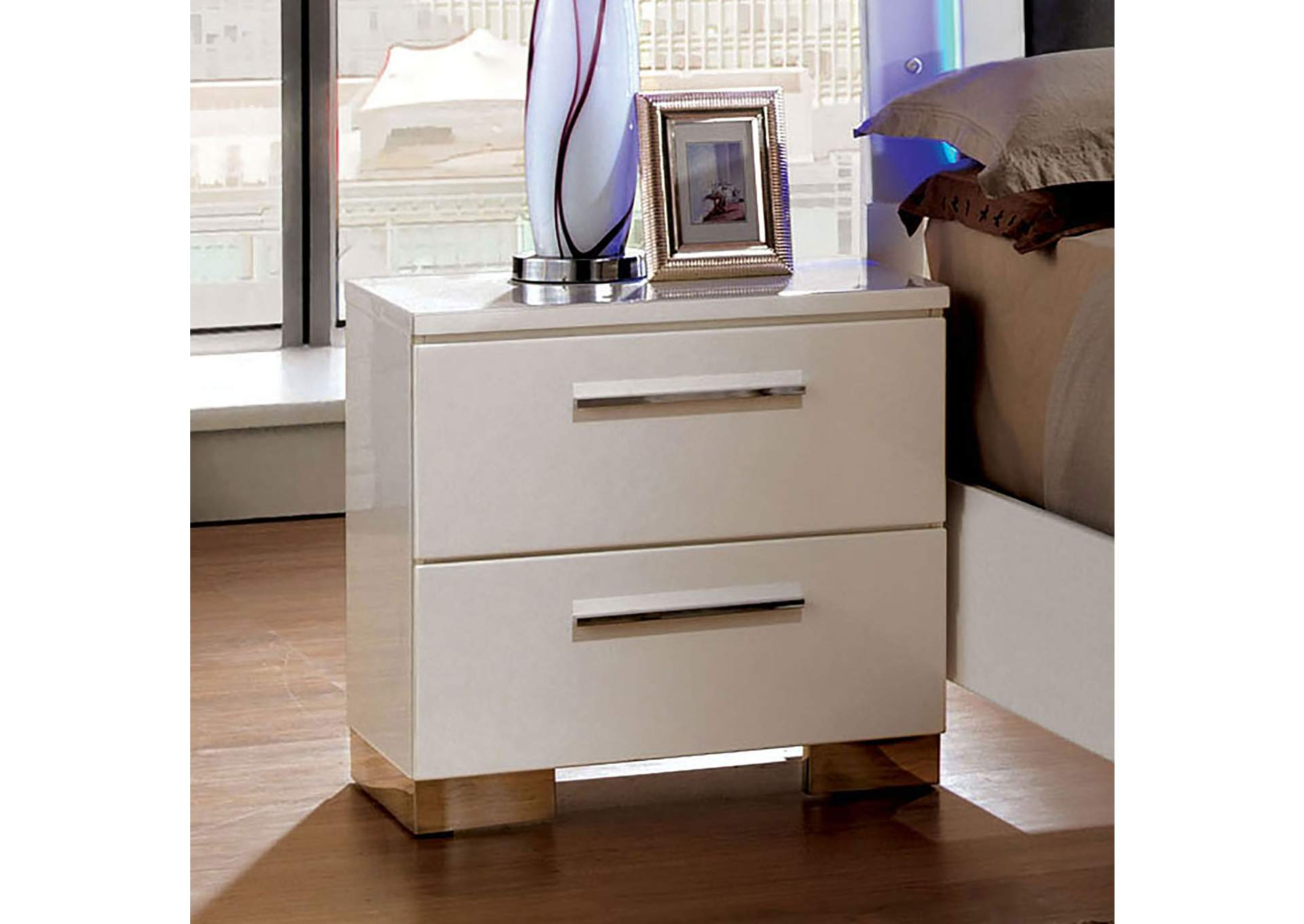 Clementine White Lacquer Nightstand,Furniture Of America