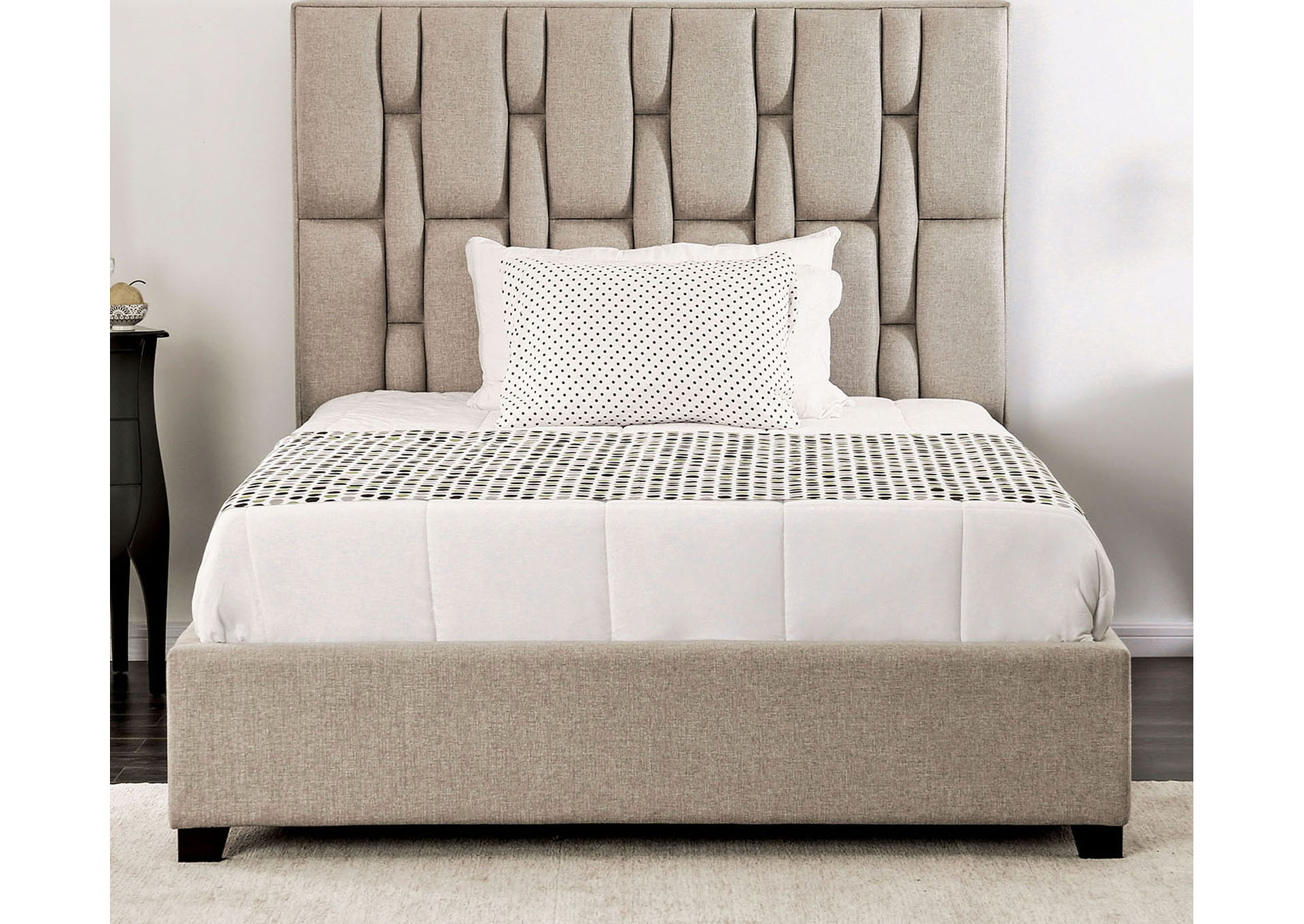 Deirdre Beige Upholstered Full Platform Bed,Furniture of America