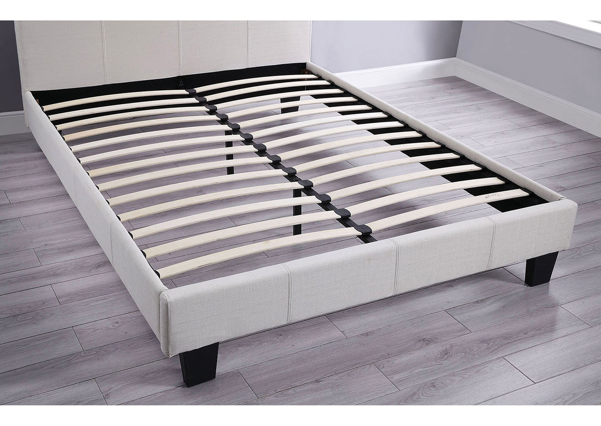 Emanuela Gray Upholstered Twin Sleigh Bed,Furniture of America