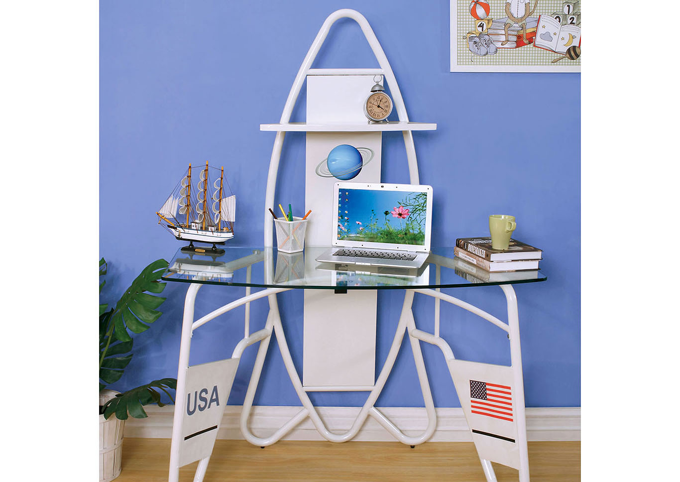 Orbiter White Space Theme Desk,Furniture of America