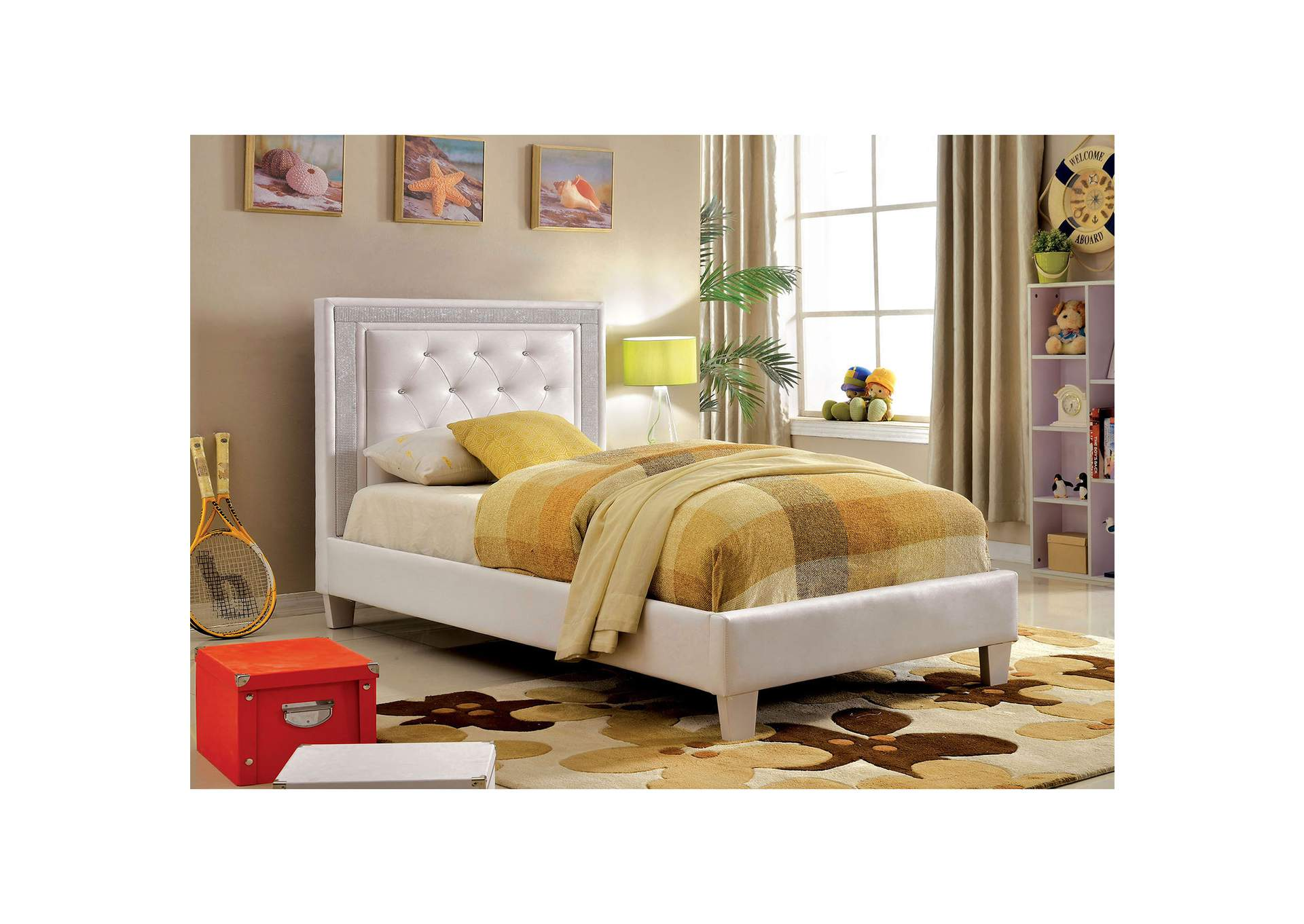 Lianne White Twin Platform Bed,Furniture of America