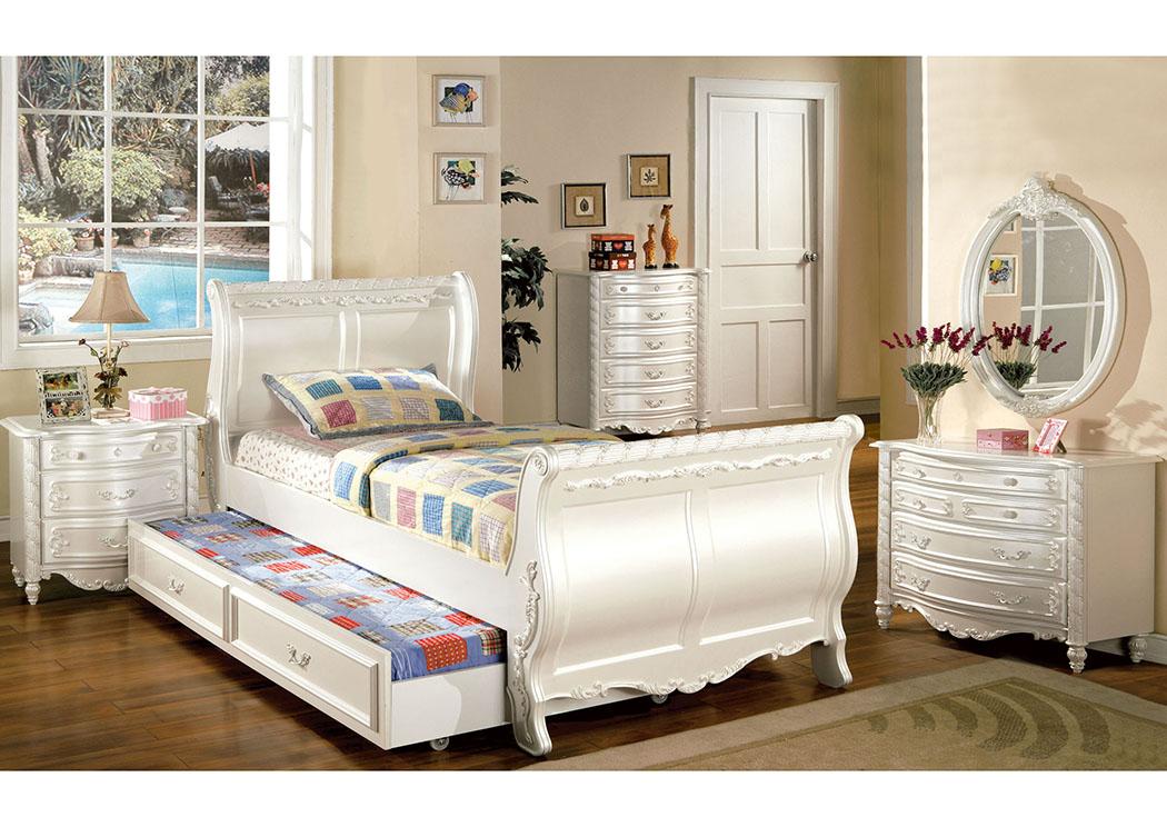 El Encanto Furniture By Yulissa Alexandra Pearl White Twin Sleigh
