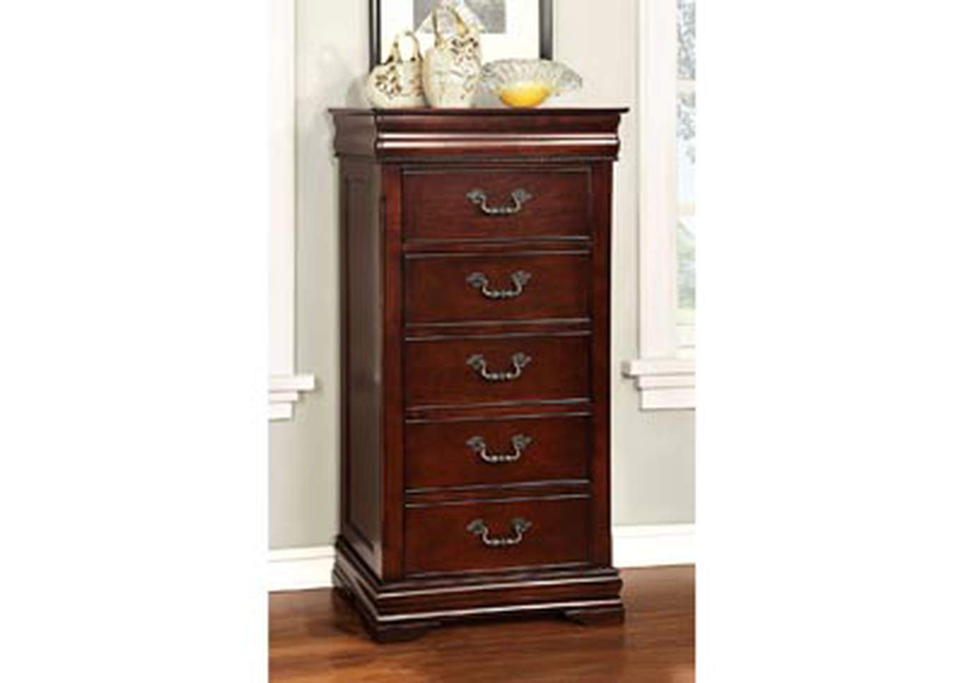 Mandura Cherry Lingerie Chest w/Hidden Storage,Furniture of America