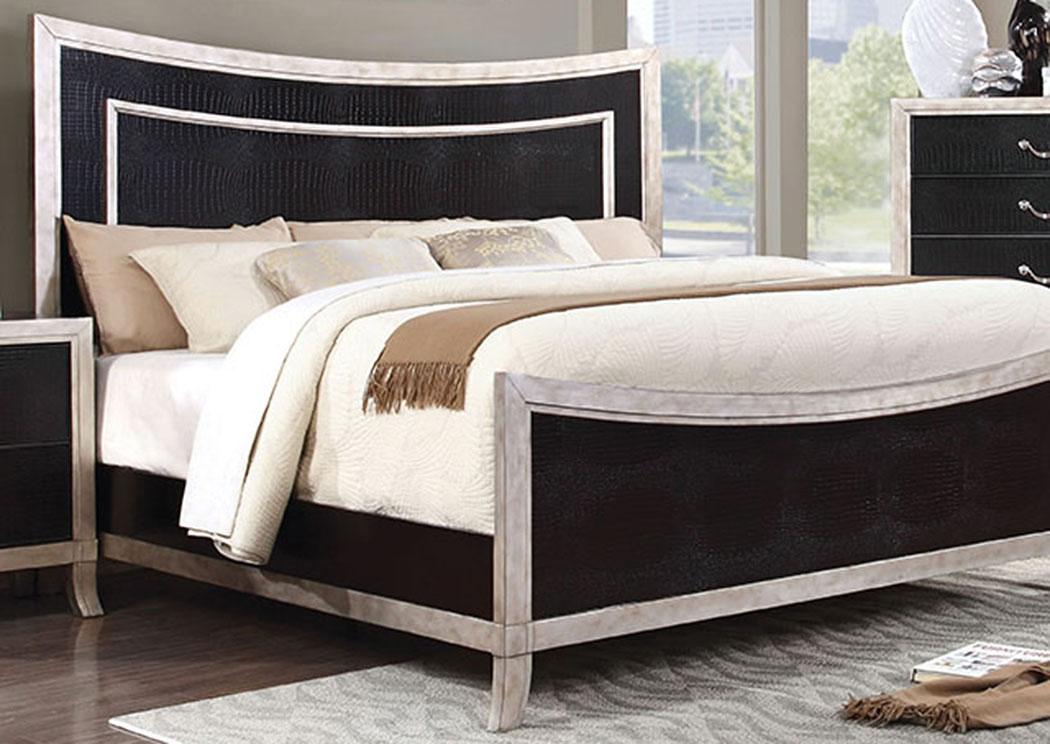 Liza Black U0026 Silver Curved Panel Queen Platform Bed W/Faux  Crocodile,Furniture
