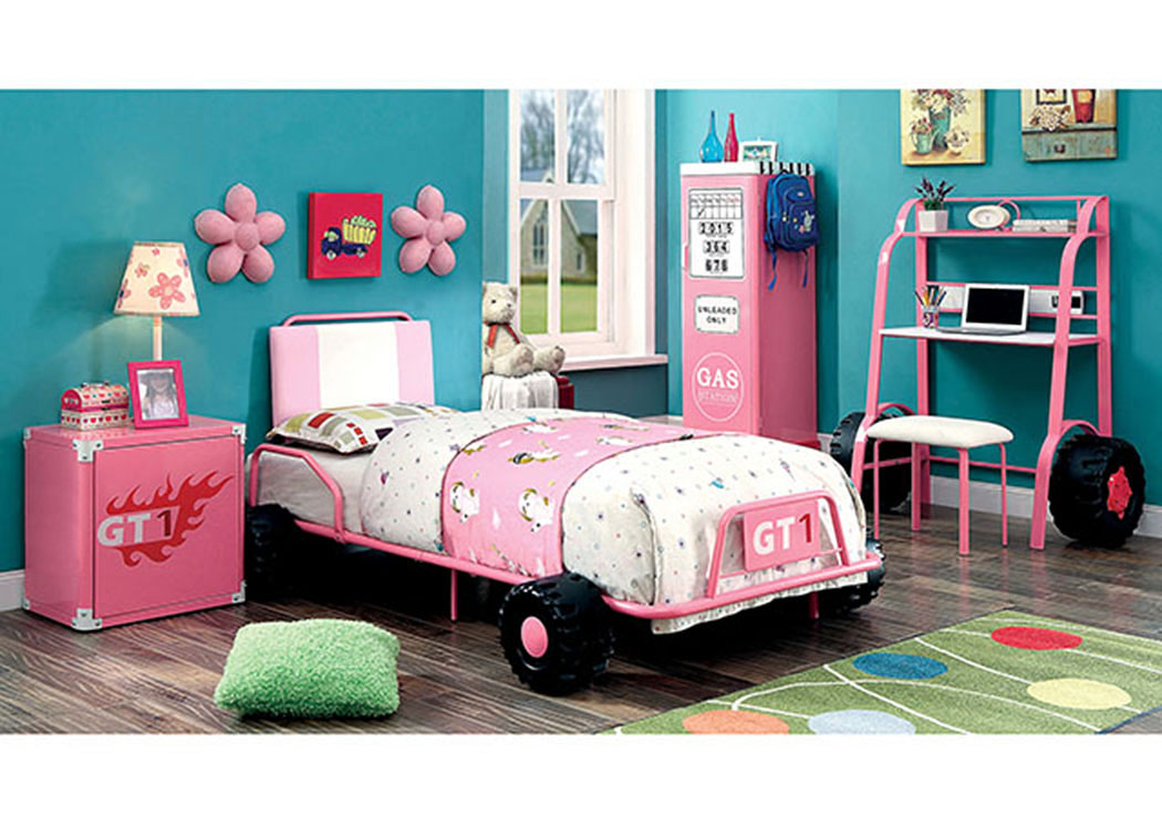 Power Racer Pink Race Car Twin Bed,Furniture of America