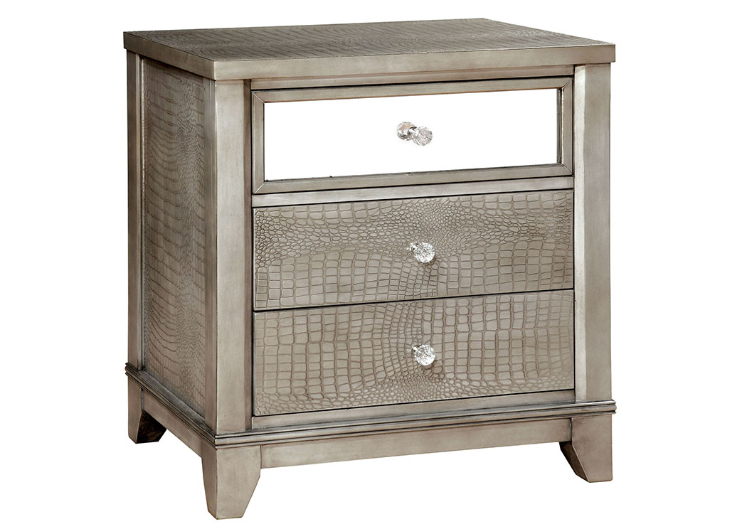 Bryant Silver Faux Crocodile Nightstand W/Mirror Panel,Furniture Of America