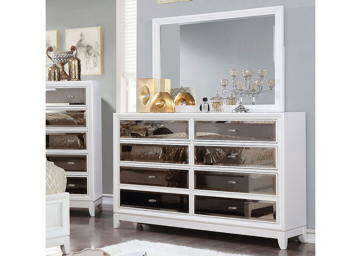 Golva White Dresser w/Mirror,Furniture of America