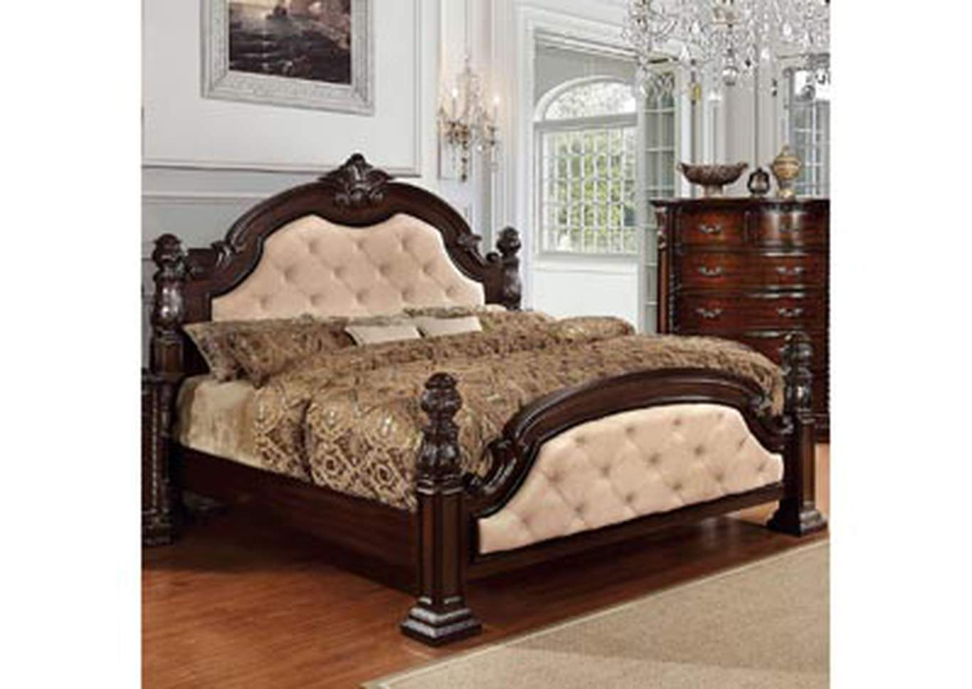 Monte Vista I Ivory/Brown Cherry Queen Upholstered Low Poster Bed,Furniture of America