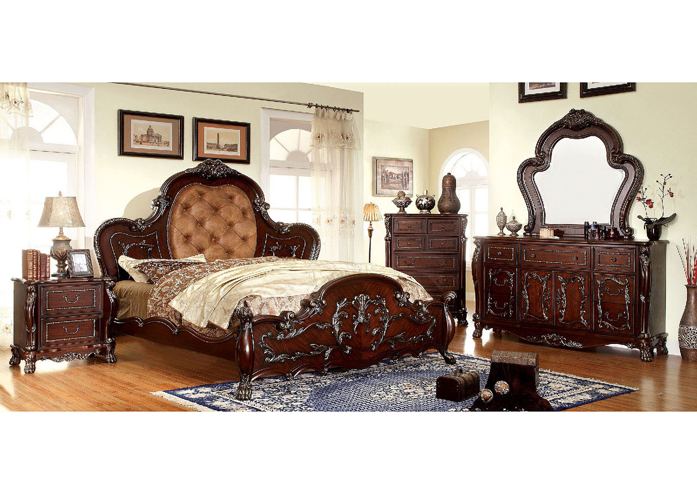 Castlewood Cherry Queen Platform Bed w/Filigree Carvings,Furniture of America