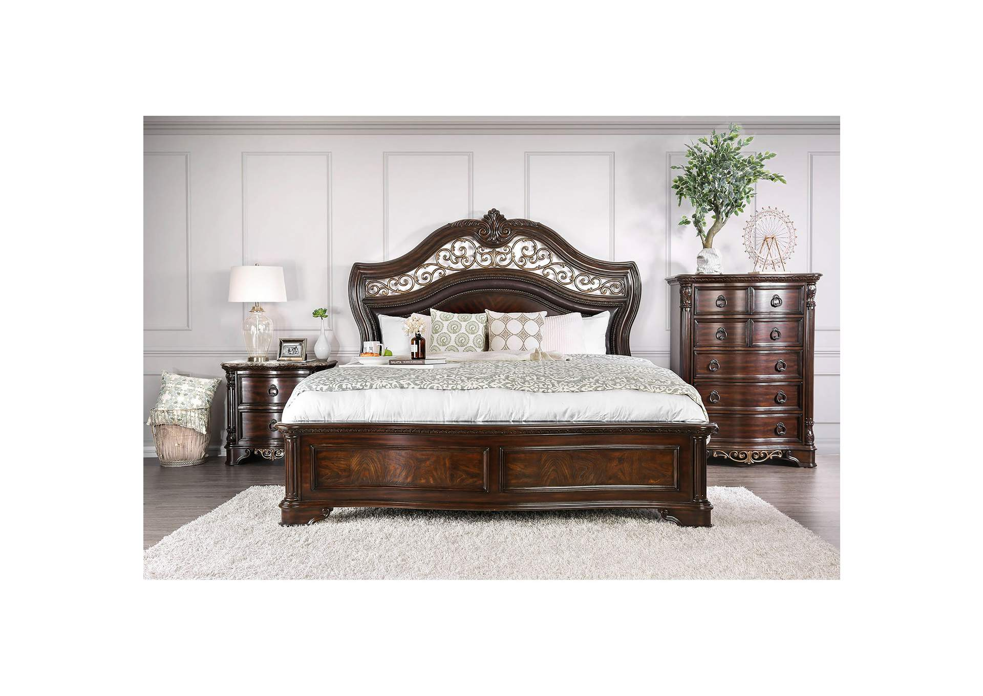 Menodora Brown Cherry Queen Platform Bed w/Dresser and Mirror,Furniture of America