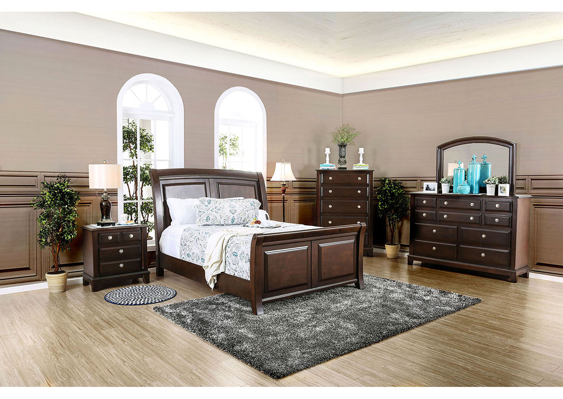Litchville Brown Cherry Dresser w/Mirror,Furniture of America