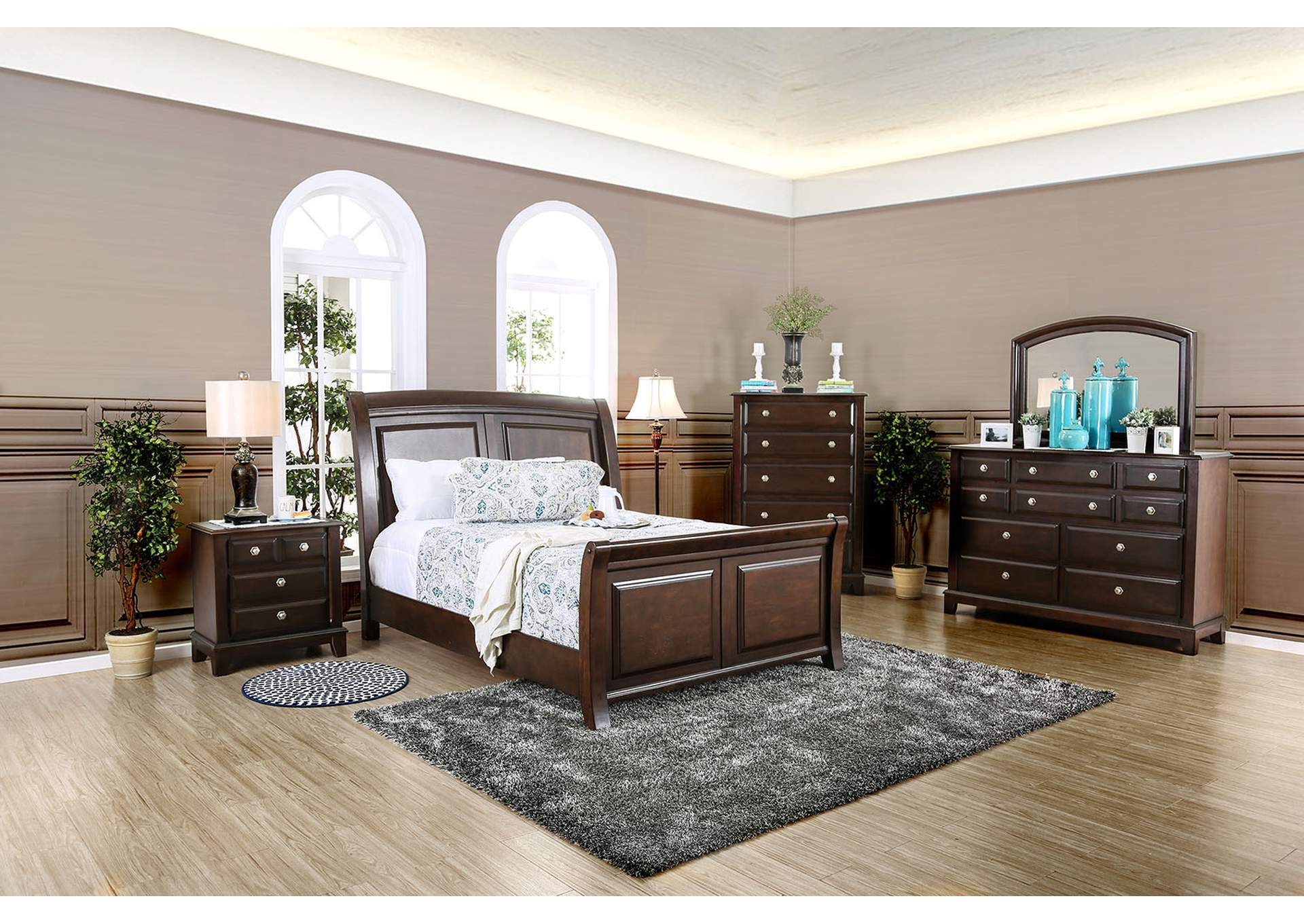 Litchville Brown Cherry California King Sleigh Bed,Furniture of America