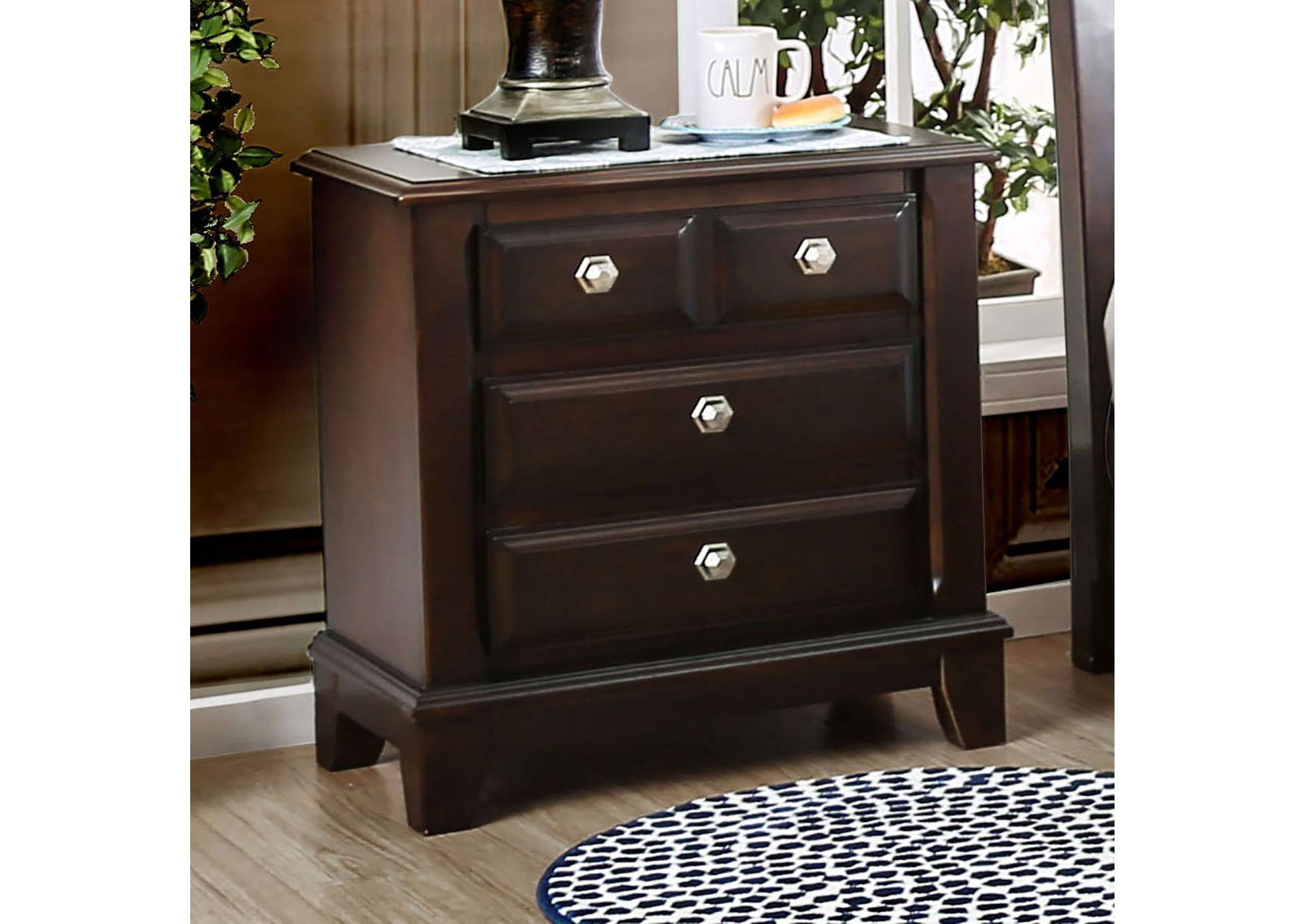 Litchville Brown Cherry Nightstand,Furniture of America